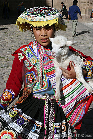 Indigenous Girl In Cusco, Peru Editorial Stock Photo