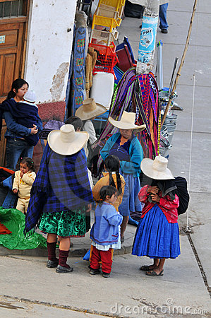 Indigenous at the local market in Peru Editorial Photography