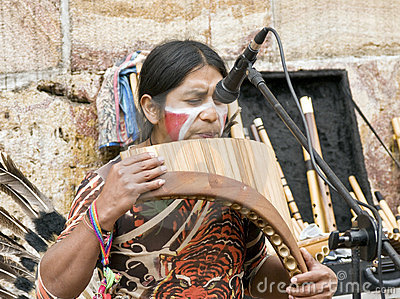 Indigenous Musician Playing Instruments Editorial Stock Image