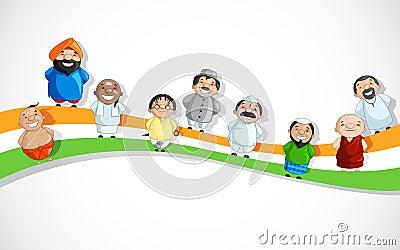 Indische Leute auf Tricolor Dlag