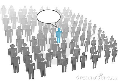 Individual person speech in crowd social group