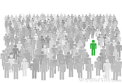 Individual person stands out large crowd of people