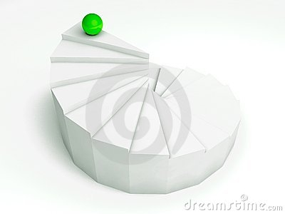 Individuality 3d, steps with green ball