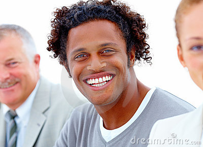 Individuality - Business people smiling happily