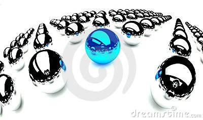 Individuality symbol, blue ball and other balls