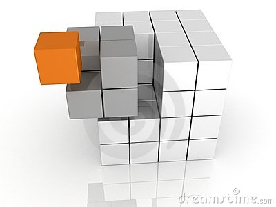 Individuality unicue cube teamwork concept