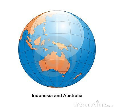 Indonesia and Australia Globe