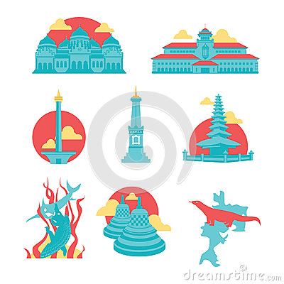 Free Indonesia Famous Landmark Icons Royalty Free Stock Photography - 53594337