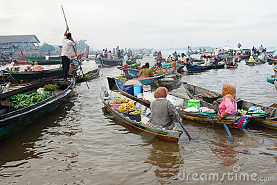 Indonesia - floating market in Banjarmasin Editorial Image