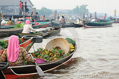 Indonesia - floating market in Banjarmasin Editorial Stock Photo