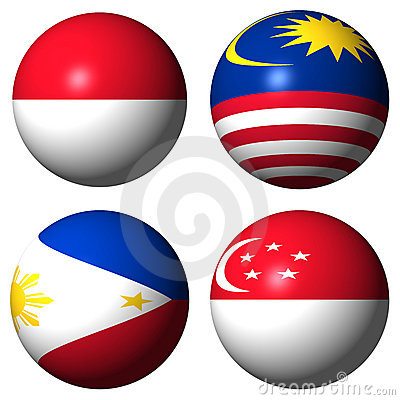 Indonesia Malaysia Philippines Singapore flags