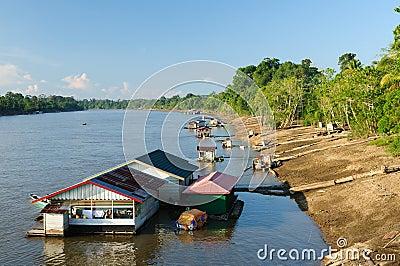 Indonesia - Village on the Mahakam river, Borneo