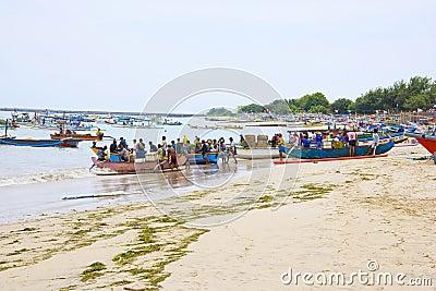Indonesian Fishermen, Jimbaran Beach, Bali Editorial Image