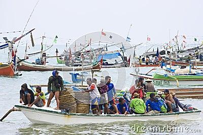 Indonesian Fishermen, Jimbaran Beach, Bali Editorial Photography