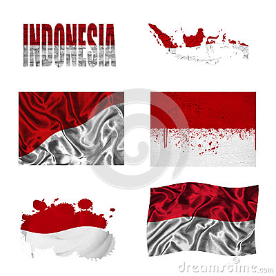 Indonesian flag collage