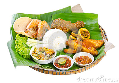 Indonesian food, chicken, fish and vegetables