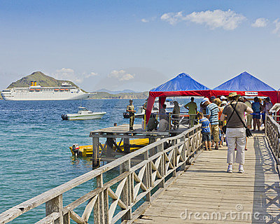 Indonesian pier for cruise ship at Komodo Island Editorial Photo