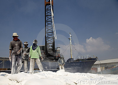 Indonesian port workers Editorial Image