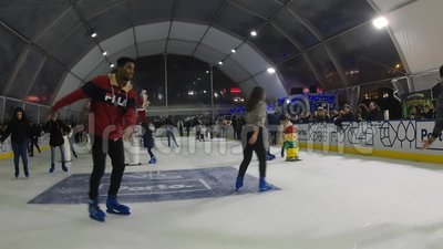 Indoor artificial Ice Skating rink stock footage