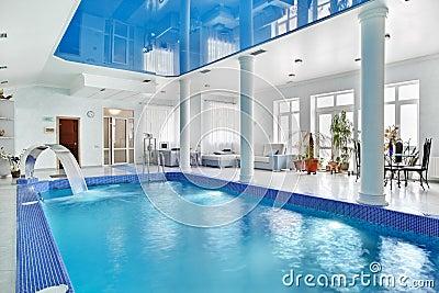 Indoor Big Blue Swimming Pool Interior Royalty Free Stock