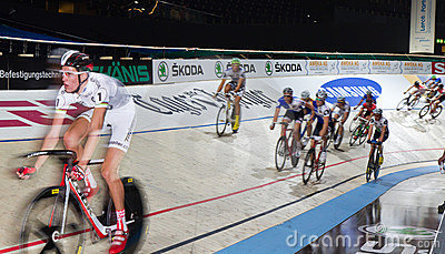Indoor bike track race sixday nights Zurich Editorial Stock Image
