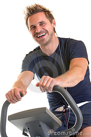 Indoor cardio training with spinning bike
