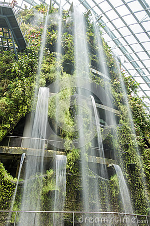 Indoor Garden And Waterfall Stock Photo - Image: 66155414
