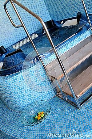 Indoor  hot tub in  spa