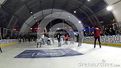 Indoor Ice Skating, Porto, Portugal stock footage