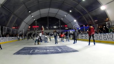 Indoor Ice Skating, Porto, Portugal stock footage