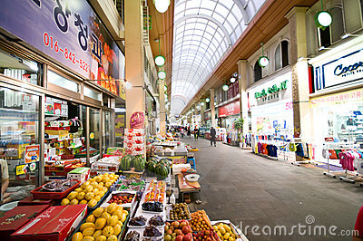 Indoor market of Iksan, South Korea Editorial Photo