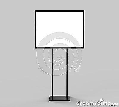 Free Indoor Pedestal Steel Sign Stand Poster Banner Advertisement Display, Lobby Menu Board. Blank White 3d Rendering. Royalty Free Stock Image - 109279956