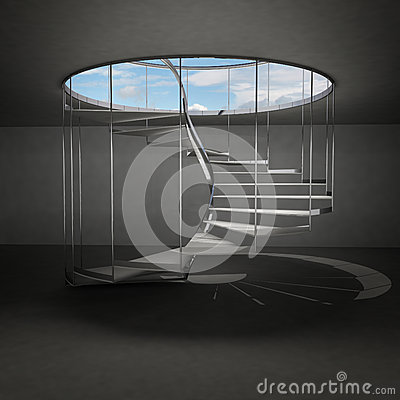 Free Indoor Spiral Staircase Leading To Sky Above Clouds Royalty Free Stock Photos - 28656968