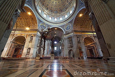 Indoor view of Basilica di San Pietro in Rome