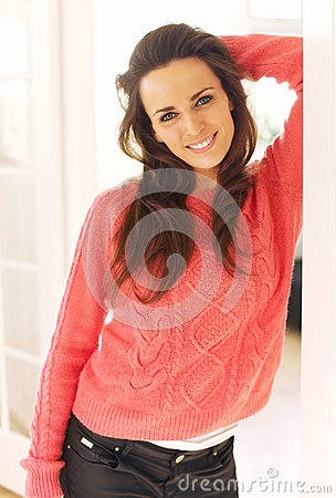 Indoor Woman at Home Standing and Looking Happy