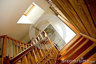 Indoor wooden staircase
