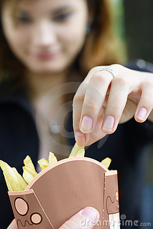 Indulging in french fries