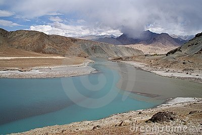 Indus River in Himalaya mountains and mist
