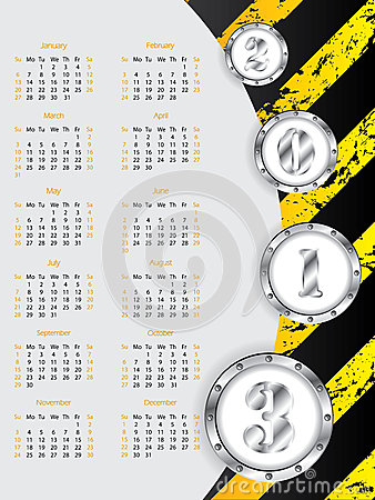 Industrial 2013 calendar design