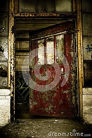 Industrial Abandoned Factory Doorway