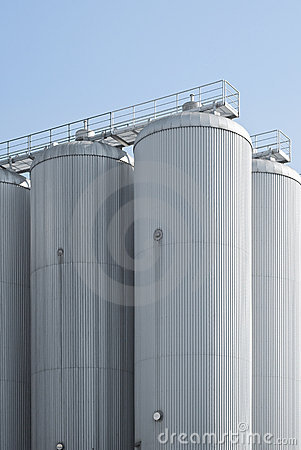 Industrial Agriculture Silo Housing Grain Stock Photo
