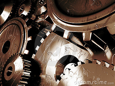 Industrial background with a lots of gears