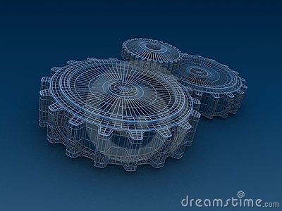 Industrial background with wire frame gears
