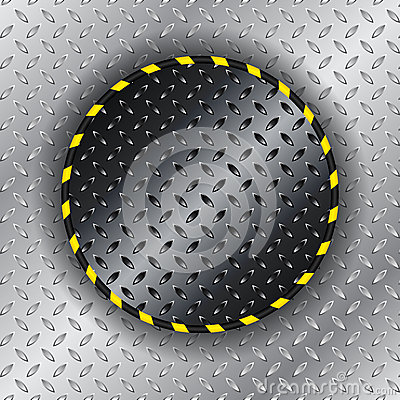 Industrial background with yellow striped circle