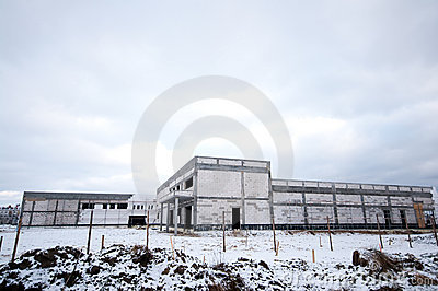 Industrial building in winter