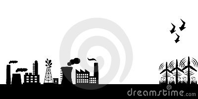 Industrial buildings with wind turbines