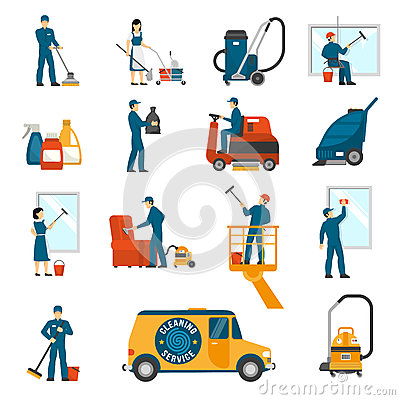 Industrial Cleaning Service Flat Icons Set Vector Illustration