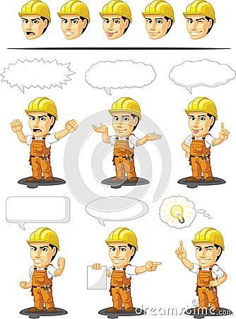 Industrial Construction Worker Customizable Mascot