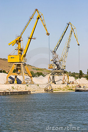 Industrial cranes in harbor