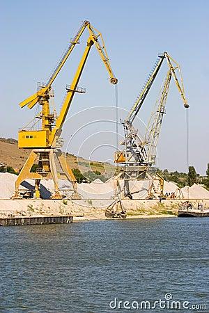 Industrial cranes in harbor